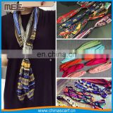 korea style print silk crinkle tie scarf solid color ruffle long necktie and narrow neck bandana scarf