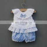 Girls Party Dress With Pants Fashion Infant Flower Lace Knee Dress Sleeveless Baby Children Clothes Kids