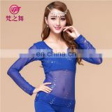 S-3070 American hot sale glittery water yarn belly dance costume top with size M L XL