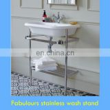 elegant chrome washstand for transitional bathroom design idea