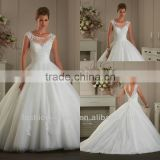 Latest Beautiful Ball Gown Tulle Low Back Wedding Dress 2014