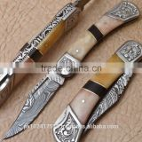 Damascus blade Folding knife/Handle of Bone and Buffalo horn pieces