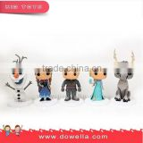 Frozen 3D plastic Figurine with 6P free PVC, food grade ABS material, custom plastic figure