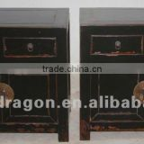 Chinese antique furniture Beijing pine wood red/black/ blue bedside two door two drawer cabinet