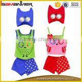 Baby boys girls fancy owl printing cute beauty baby swim suit with swimming hat                                                                                                         Supplier's Choice