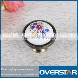 lovely roundness ceramic knob, solid brass round ceramic knob, flower carve surface ceramic knob door handle