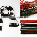wholesale fashion white and black striped knit scarf