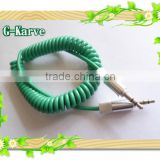 1.8m colorful DC 3.5 M-M spiral audio cable with metal connector