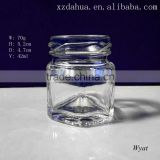 wholesale 40ml hexagon mini glass honey storage jar                                                                         Quality Choice