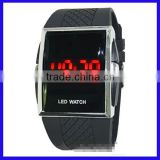 2014 Wholesale New with scrolling text Light Wrist LED mirror hand silicone led watches men