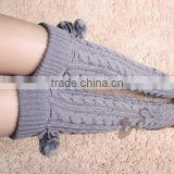 Gray Womens Leg Warmers,Cute Socks With Ball, Knee Socks, Thigh High Socks Long Wool Boot Socks,