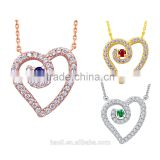 silver jewelry 925 sterling ladies rose gold heart necklace yellow gold plated jewelry necklace