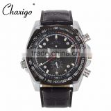 Chaxigo Analog Leather Men Sports Outdoor Quartz Wrist Military Watch Fashion Watch