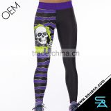 Sexy Purple Wave Skull Fitness Skinny Women Pants Leggins