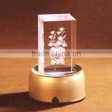 Wholesale 3d laser engraving crystal cube/block with adapter or batteries powered LED base for gifts