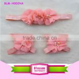 Fashion headband & Bare foot Set Posh Petti Bare Shoes Shabby Flower set Blooming Shoes Flower Girl Hairbands