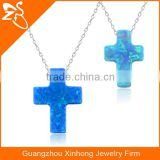 925 silver jewelry necklace with blue cross opal pendants necklaces