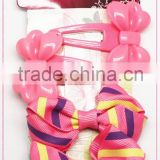 Plastic bows hair clips and Stripe hair bows set(approved by BV)