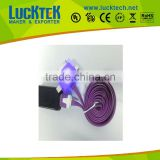3 in 1 flat led usb cable for any micro device usb cable for samsung for iphone