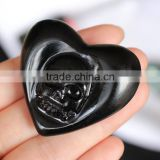 Obsidian Stone Crystal Heart With Skeletons Face