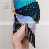 Qiancai Wuchieal shinning belly dance belts,tassels and beaded belly dance hip scarf (YL090)