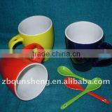 red/yellow/blue color,round body,ceramic cup with spoon