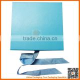 blue collapsible gift box with ribbon for dress packaging