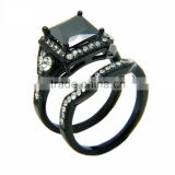 European Ring Design Three Stone Ring Black Zircon Adjustable Combination Double Rings For Unisex