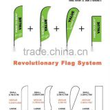 combination flag pole system/One pole system for four flag shapes