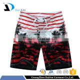 Daijun OEM new design cheap polyester stripe palm beach shorts hot sale blank board shorts