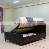 Modern Style Black PU PVC Side Lift Storage Leahter Bed #1513