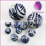 2015 whole sale artificial for DIY jewelry making Bead porcelain blue and white 10pcs per bag