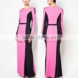 Contrast color belt waist beaded simple style muslim dress