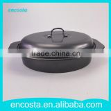 Black Carbon Steel Oval Fish Roaster Non Stick Grill Pan With Lid