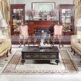 Antique Replica Style Living Room Furniture Set, British Style Retro Upholstered Chesterfield Sofa