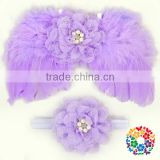 Wholesale 4 Colors Feather Butterfly Wing And Headband Set Party Angel Wings
