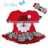 children red romper with leopard santa claus dress with hairband fashion baby clothes for chirtsmas kids clothes