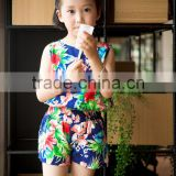 fashion girl sleeveless blouse and panty set chifon blouse set for baby girl printed flower dress vacation cloth set