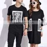custom wholesale fashion cool design couple T shirts and longline printed t shirts
