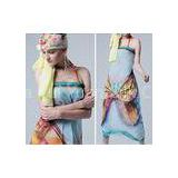 Yellow / Blue Butterfly Head / Neck Custom Silk Scarves Silk Chiffon Scarf