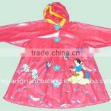 Pink kids/children's hooded pvc raincoats manufacture