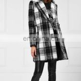 Hot Classic Style Black and White Checked Tweed Coat Midi Winter For Women