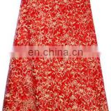 2015 Red Latest style african dry lace fabric for party
