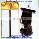 hot sell pvc hair extension bag mini garment bag /hot hair packaging bags with hanger