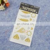 Gold foil temporary tattoo sticker