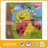 ladybird design mini plywood material with paper sticker funny baby toys made in china jigsaw puzzle wholesale wooden puzzle toy                                                                                                         Supplier's Choice