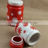 new design snowflake ceramic jar,ceramic cookie jar,ceramic storage jar,ceramic canister jar