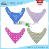 WZ-MS-1915 100% cotton polyester fleece baby bandana bibs with pacifier clip