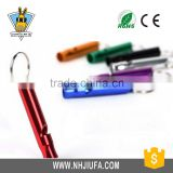 JF high quality outdoor tools,whistle with key ring,promotion colorful aluminum alloy outdoor whistle