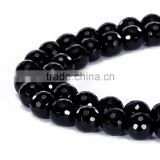 Good Sale Faceted Round Black Onyx Gemstone Loose Beads